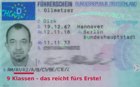 Das Ergebnis: Erst mal genügend Führerscheinklassen...