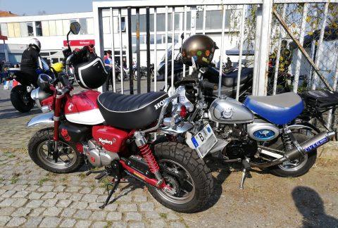 Aktuelle Honda Monkey (rot) neben älterer Honda Gorilla